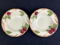 Lot of 2 Vintage Franciscan Pottery Soup Bowls Apple Pattern