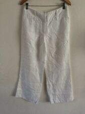Next Linen Mix Trousers Size 10 Regular In White <R6510