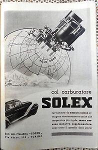 Clipping-Ritaglio CARBURATORE SOLEX  pubblicità originale 1940 cm.24x17