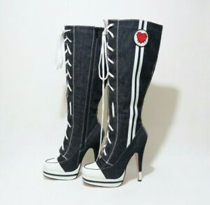 Size 8 Womens Sneaker Styled Lace Up + Zip Fastening Platform Knee High Boots