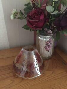 Fab Yankee Candle Medium Red Leaves Crackle Glass Jar Topper Lantern Lid