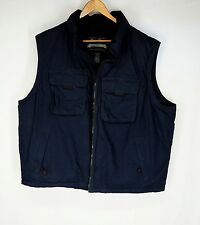Eddie Bauer Navy Blue Down Puffer Photographer Journalist Style Vest XXL 2XL