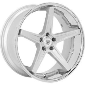 "(4) 22"" Lexani Wheels Savage Silver w Chrome Lip Rims (B42)"
