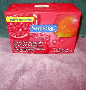 Sealed SOFTSOAP Juicy POMEGRANATE & MANGO Infusions BAR SOAP (4 Total Bars) DISC