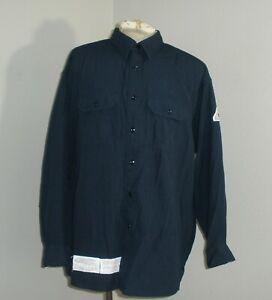 Mens BULWARK FR Navy Blue Fire Flame Resistant Long Sleeve NOMEX Shirt 3XL LONG