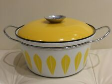 Cathrineholm Norway Yellow on White Enamelware Lotus Covered Pot Casserole