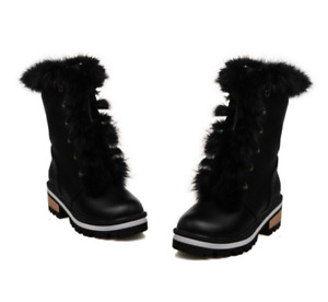 Womens Casual Round Toe Lace Up Ankle Boots Winter Fur Trim Mid Heels Snow Shoes