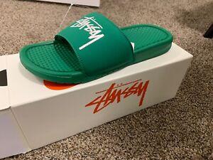 Nike X Stussy Benassi Slides Pine Green Size 9