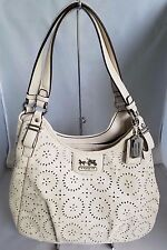 Coach Madison Maggie Perforated Leather Lace Ivory Eyelet Hobo Tote 19625