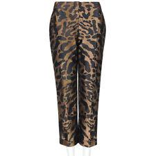 Alexander McQueen Bronce Jacquard Estampado de Leopardo Recortada Pantalones Pantalones IT44 UK12