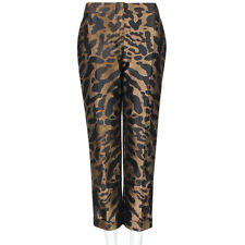 Alexander McQueen Bronze Leopard Print Jacquard Cropped Trousers Pants IT44 UK12