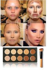 10 Color Contour Face Makeup Concealer Camouflage Neutral Palette Kit Set Brush
