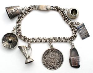 Vintage Sterling Silver Charm Bracelet Mexican Aztec Calendar Sombrero Hat W