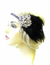 Black Silver Feather Headpiece 1920s Headband Flapper Great Gatsby Vintage 1826