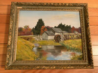 Village scene River Oil/Canvas Painting Wood framed Signed 23.8x19.8/19.2x15.2