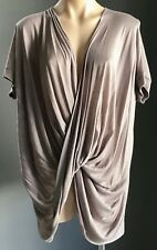 Pre-owned Taupe SEED HERITAGE Drape Knot Front Short Sleeve Top Size L/14