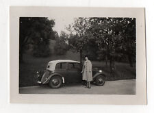 PHOTO - Snapshot Vintage - Auto Voiture Automobile Décapotable Femme Vers 1940