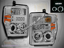 08-10 FORD F250 F350 F450 CCFL TWIN HALO CHROME PROJECTOR HEADLIGHTS w/ LED