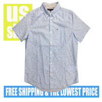 Tommy Hilfiger Men's NWT Sky BLUE w/ Micro STARS 100% Cotton Button D Shirt 2XL