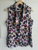 Banana Republic Womens Sleeveless Gray Ruffle Front Blouse Top Shirt Size Small