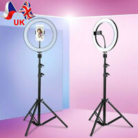 "10"" LED Ring Light Dimmable Lighting Kit Phone Selfie Tripod Makeup Live Lamp UK"