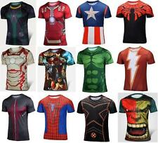 Mens Cycling Sport Jersey Compression T-shirt Short Sleeve Tee Superhero Costume