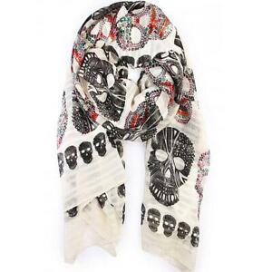Ivory Gothic Steampunk Unisex Sugar Skull Skeleton Faux Silk Chiffon Scarf Shawl