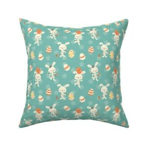 Kawaii Bunny Cute Happy Teal Throw Pillow Cover w Optional Insert by Roostery