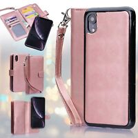 Leather Removable Wallet Magnetic Flip Card Case Cover for iPhone X XR XS Max 8