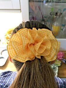 pretty cute girls gingham check school hair bow.clip barrett clasp