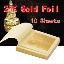 10x Gold Foil Leaf 99.99%25 Pure 24K Food Decor Edible Face Beauty Gilding 1.7�€œ