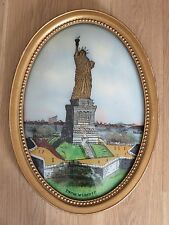 Antique Reverse Statue Of Liberty Painting Art Domed Glass. Oval Frame NYC USA