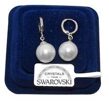 Orecchini da donna pl. oro bianco 18K zirconi cristalli swarovski veri SW/perla
