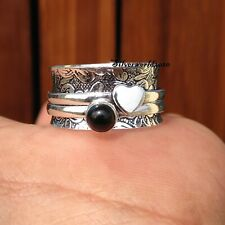 Black Onyx Spinner Ring 925 Sterling Silver Plated  Handmade Ring Size 10 zz86