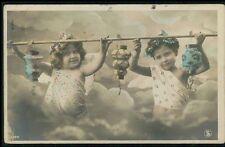 Edwardian Child Girl Angel Friend Chinese Lamp original 1910s photo postcard 354