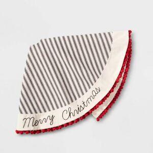 "Wondershop- 48in Striped Linen ""Merry Christmas"" Pompom Trim Tree Skirt"