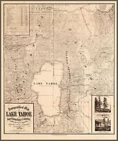 "1874 Map of Lake Tahoe California, Nevada, antique decor, National Park, 24""x20"""
