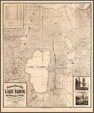 "1874 Map of Lake Tahoe California, Nevada , antique decor, National Park, 20""x16"