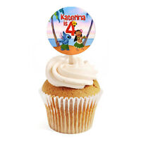 """12 Lilo and Stitch Birthday Party Favors Personalized 2"""" Round Cupcake Toppers"""