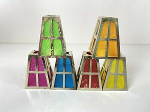 6 Vintage Pifco Multicoloured Lantern Replacement Christmas Light shades Only
