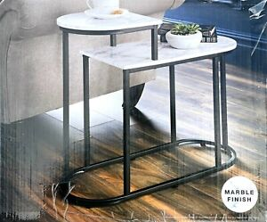 NEW 2 Tier Side Table Modern Sofa Side Coffee table Living Room Marble Effect