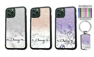 PERSONALISED Marble Glitter  Any Name Silicone Case Cover for iPhone XS 11 12
