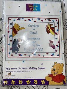Winnie The Pooh Wedding Cross Stitch Sampler Kit Heart To Heart New