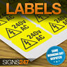 ELECTRICAL WARNING STICKERS - self-adhesive yellow labels AC 240V