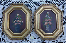 Pair Oil Paintings on Copper Gold Wood Frames dipinto su rame Italy Italian