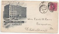 1891 HOTEL BROEZEL BUFFALO NY USA ILLUSTRATED ADVERTISING COVER TO EDITH CARR PA