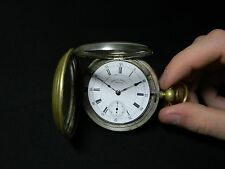 Antique 1885 15 jewel 18s Waltham Pocket Watch double hinged case