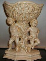 VTG Cherubs Angels Baroque Ceramic Compote Planter Vase Artisan Signed 1974