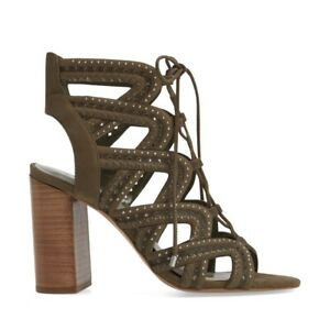 1. State  green suede kayley lace up caged heels Size 6 Approx 4 inch heel