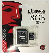 New Kingston 8 GB Class 4 MicroSDHC Card Retail (SDC4/8GB) with SD Adapter